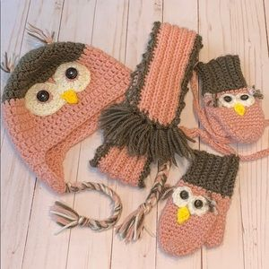 Other - Owl crochet hat mittens scarf knit set pink brown